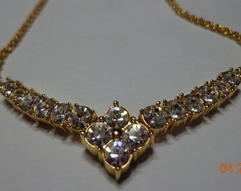 Golden Colored Necklace/Choker Bright with Rhinestones--Free Shipping in US