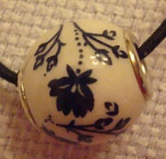 Dark Flowers on barely Off White Charm/Pendant--Has Asian Feel--Free Shipping in U.S.