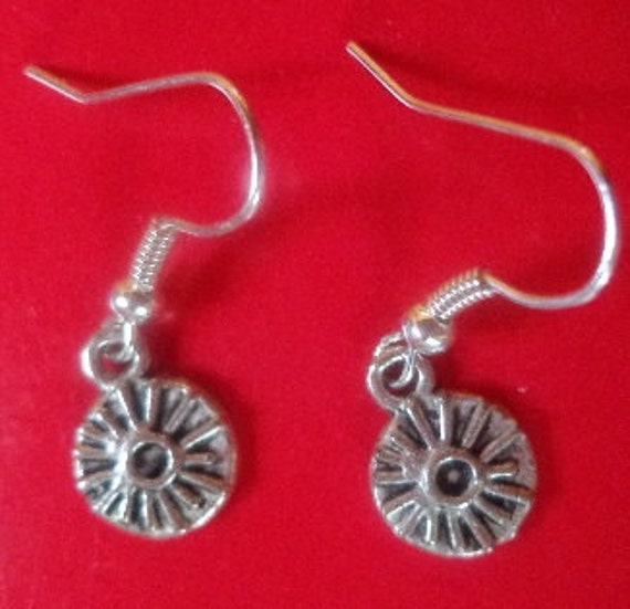 2 Small Round Silver Generic Earrings with Starburst Design-Sold Separately--Free Shipping US