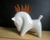 Modernist Ceramic and Teak Horse - Vintage 50s