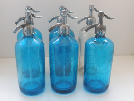 Vintage Seltzer Bottles Set of Six with Crate