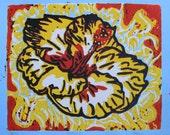Hibiscus Original Lino Print