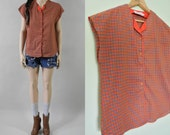 80s red boxy checkered plaid top / s-m