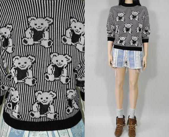 SALE 80s pink & black striped teddy bear novelty sweater / s