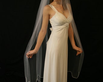 White chapel length veil
