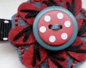 Children's Felt Flower and Button Hair Clip Denim Blue and Cranberry Red