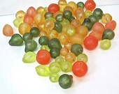 Tropical Fruit Mix Vintage Plastic Beads Oranges, Pineapplies, Limes, Green Pears 66 Pieces