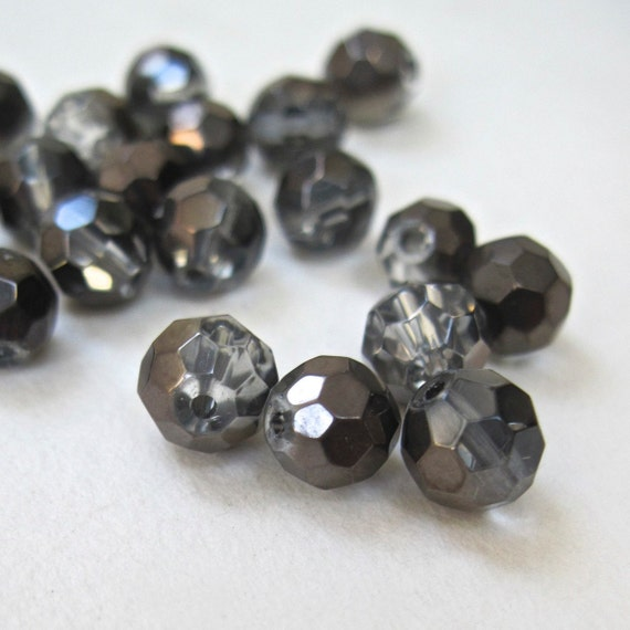 Gray Glass Beads - 6mm Translucent Faceted Rounds 18 Pieces