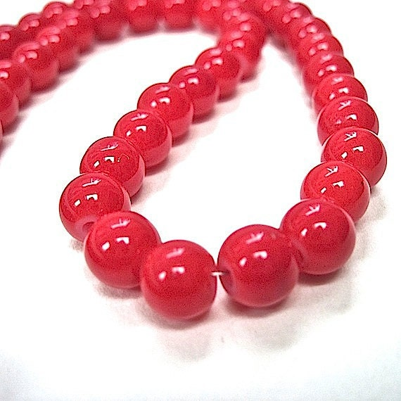 Candy Apple Red Beads Opaque Glass Rounds 8mm & 5mm - 64 Pieces