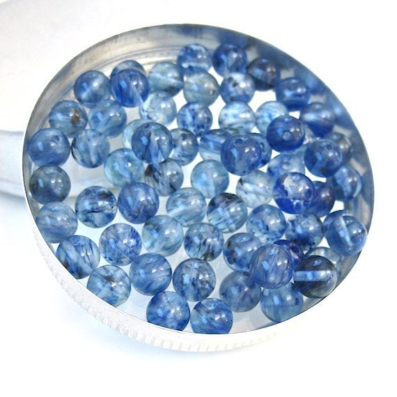 """RESERVED for GINA Blueberry """"Quartz"""" Blue Glass Beads 6mm Round Faux Gemstones - 63 Pieces"""