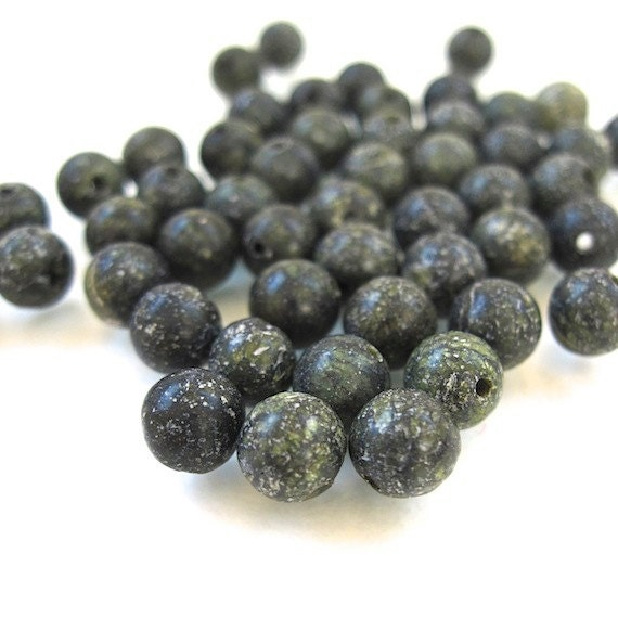 Russian Jade Gemstones Charcoal Gray 6mm Round Beads - 50 Pieces