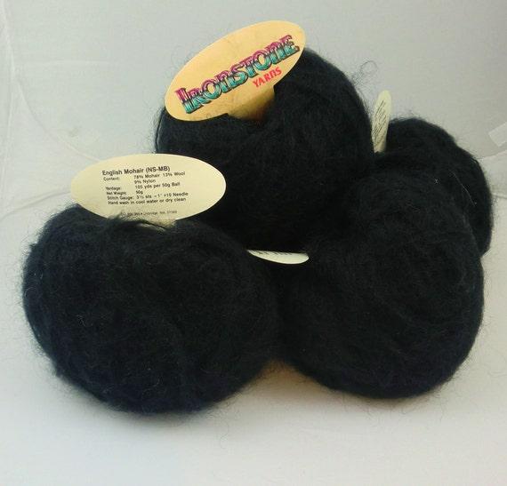Black Brushed Mohair/Wool Yarn (lot of five balls)