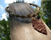 Natural Hemp Macrame Necklace - Reddish Brown Arrowhead with Bone Accents