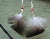 Earth Tone Feather Earrings with Jasper Accent