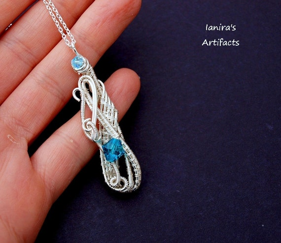 OOAK Sterling Silver plated wire wrapped pendant with turquoise Swarovski crystal beads