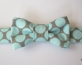Aqua and Gray Baby Bowtie  Toddler Bowtie  Baby Bow tie  Toddler Bow tie