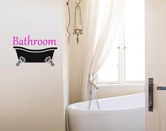Bathroom Decoration Vinyl Decal, Door Sign Vinyl Sticker, Cute Bathroom Sticker - ID352