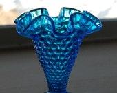 Blue Hobnail Fluted Vase - Hobnail - Vase - Blue - Home Decor - Vintage Vase - Fluted Vase