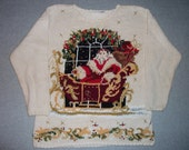 Saint Nick Santa Claus Sleigh Beads & Bows Sweater Ugly Christmas Party Tacky Gaudy X-Mas Winter Warm Holiday L Large