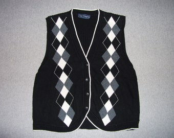 Vintage School Girl, Golf Ugly Christmas Party Sweater Vest Button Up Black and Gray X-Mas Crazy Tacky Gaudy L Large