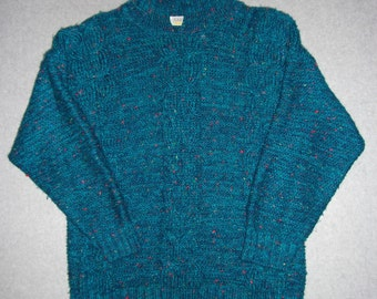 Vintage 80s 90s Turquoise Blue Long Sleeve Sweater Made in USA Ugly Christmas Party Tacky Gaudy Holiday Winter Warm L Large XL Extra Large