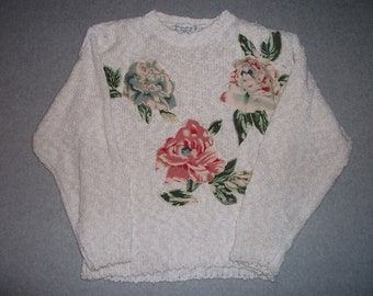 Pastel Flowers Long Sleeve Sweater w/ Shoulder Pads Holiday Ugly Christmas Party X-Mas Tacky Gaudy M Medium