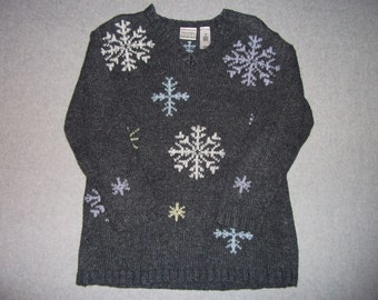 Nordic Ski Sweater Snowflakes Snow Snowing Ugly Christmas Party Tacky Gaudy X-Mas Winter Warm Holiday Petite M Medium