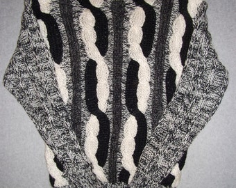 Amazing 80s 90s Black White and Gray Peggy Sweater Cosby Show Hipster Ugly Christmas Party Tacky Gaudy X-Mas 1980s 1990s M Medium L Large