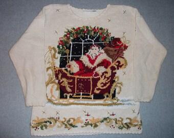 Saint Nick Santa Claus Sleigh Beads & Bows Sweater Ugly Christmas Party Tacky Gaudy X-Mas Winter Warm Holiday L Large