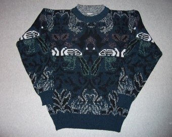 Vintage 80s 90s Hipster Sweater Cosby Cool Abstract Art Ugly Christmas Party Tacky Gaudy X-Mas Winter Warm Holiday 1980s 1990s M Medium