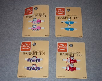 Cute 80s Cat Soft Kitty warm Little Ball of Fur Hair Barrettes Clips Hipster Retro Made In USA Kittens I Love Cats Boat Car Plane Train