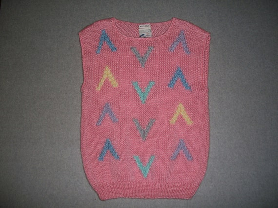 Flying V Vintage Pretty in Pink Sleeveless 80s 90s Ugly Christmas Sweater Hand Knit Hipster Tacky Gaudy X-Mas L Large
