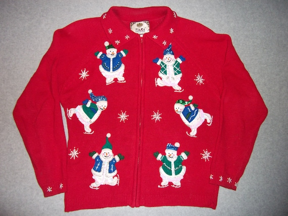 Seven Sequin Snowmen Snowman Snow Woman Sweater Snowflake Ugly Christmas Party Tacky Gaudy X-Mas Holiday Winter Wonderland L Large M Medium