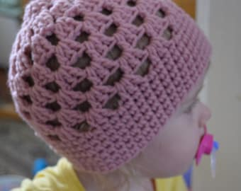Crocheted Mesh Stitch Pink Cloche Beanie 12 - 18 Months Pink READY TO SHIP