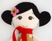Asian Cloth Doll Handmade Black Hair with Brown Eyes - My Gigi Dolls