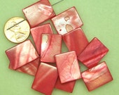 PRICE DROP - Mother of Pearl red large flat rectangle beads SP131
