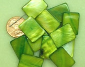 PRICE DROP - Mother of Pearl olive green large flat rectangle beads SP134
