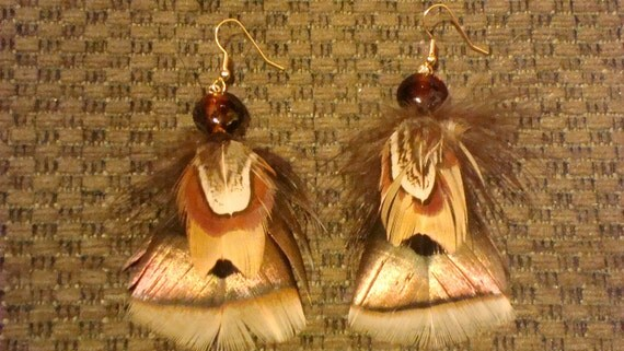 Wild Turkey Feathers Earrings of Rio Grande Turkey and Pheasant