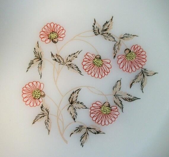 3 Fire King Pink Flower Fleurette Dinner Plates