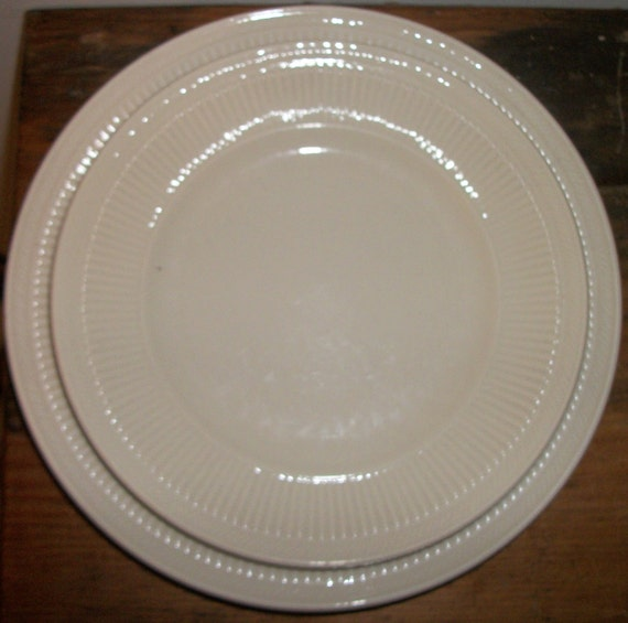 Shenango China Pair of Dinner Plates and Salad Plates Classic Ivory Pattern