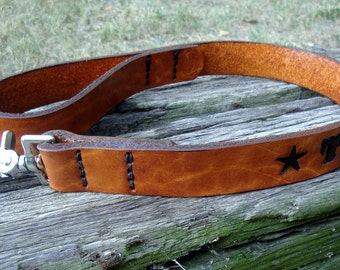 Custom Handmade Personalized 2' Walking Leather Dog Leash or Lead