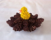 Easter Chick Easter Peep in Nest of Pine cones