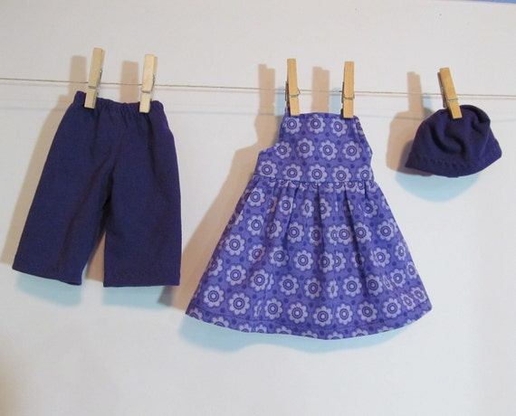 "Purple flower sundress outfit for 11"" doll"