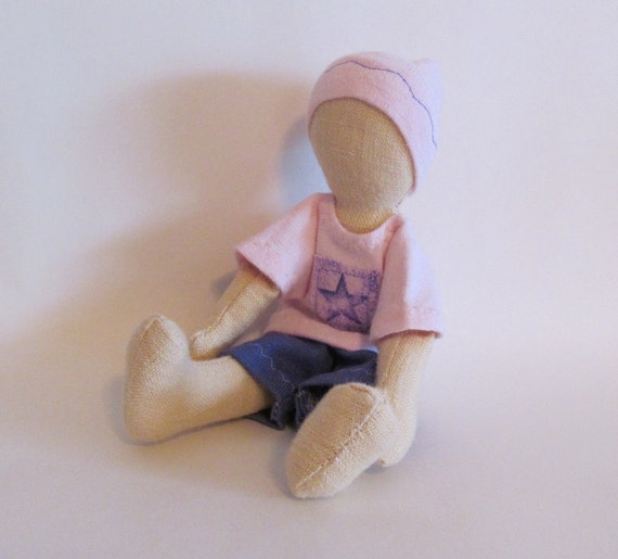 """SALE 7"""" doll with purple star shirt"""
