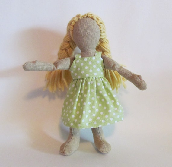 "SALE 7"" Eco-friendly doll with blond wool hair and minty green sundress"