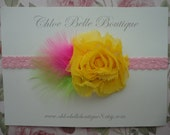 20% OFF sale - Shabby chic flower headband - yellow with multi-colored feathers - newborn, baby, toddler, children, teen, SPRING