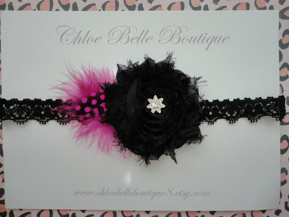 Black Shabby flower headband with crystal center and feathers - newborn, baby, toddler, child, teen, vintage-inspired
