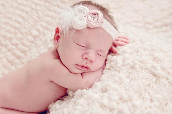 "Gorgeous Mini ""Old Hollywood"" Inspired Fabric Rosette with Feathers, Netting w/swarovski  - newborn/baby girl/photo prop"