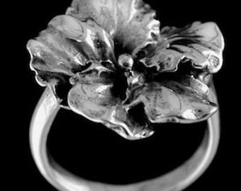 Sterling Silver HIBISCUS RING -  sizes 5.5-9.0 Hand Made by Rasnick Jewelry