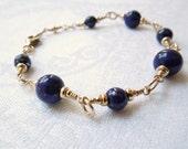 Lapis Lazuli Gold Bracelet AAA Lapis Beaded